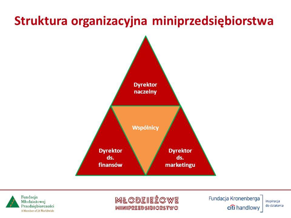 Dyrektor naczelny Dyrektor ds. finansów Wspólnicy Dyrektor ds. marketingu Struktura organizacyjna miniprzedsiębiorstwa