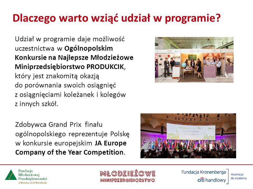 Udział w programie daje możliwość uczestnictwa w Ogólnopolskim Konkursie na Najlepsze Młodzieżowe Miniprzedsiębiorstwo PRODUKCIK, który jest znakomitą