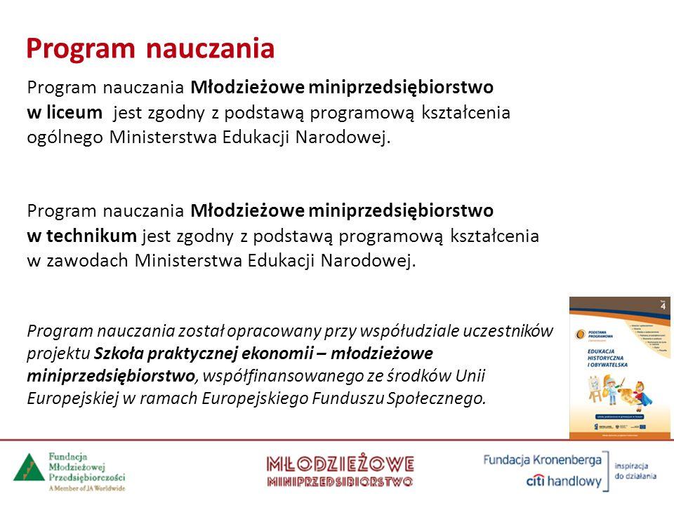 Program nauczania Młodzieżowe miniprzedsiębiorstwo w liceum jest zgodny z podstawą programową kształcenia ogólnego Ministerstwa Edukacji Narodowej.