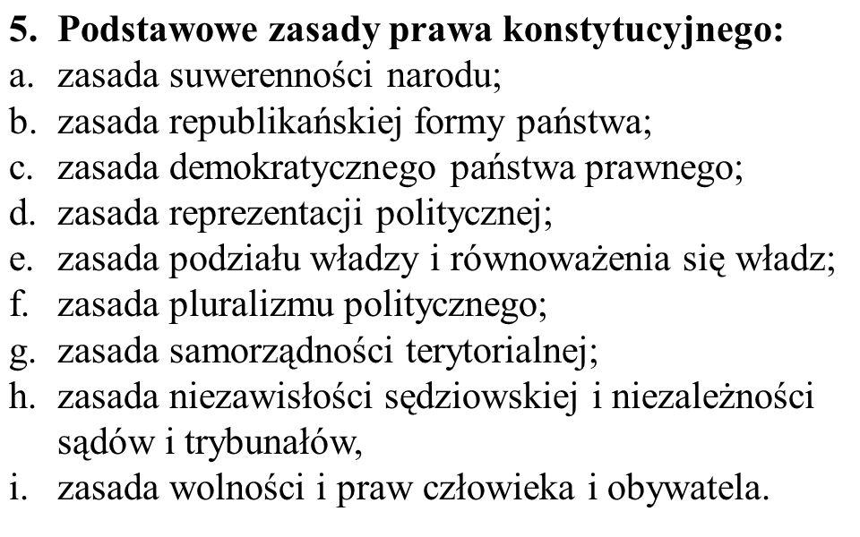 5.Podstawowe zasady prawa konstytucyjnego: a.zasada suwerenności narodu; b.zasada republikańskiej formy państwa; c.zasada demokratycznego państwa praw
