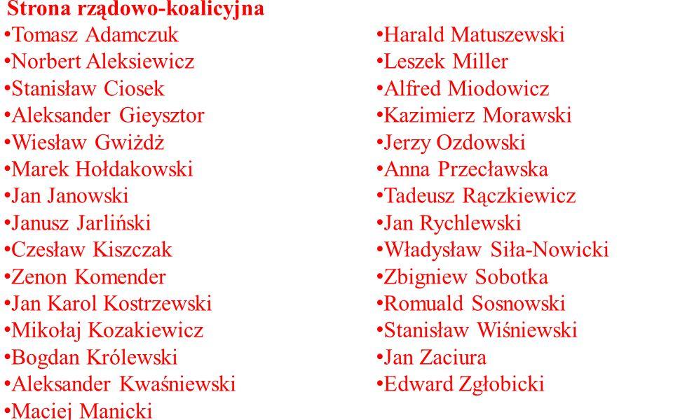 Tomasz Adamczuk Norbert Aleksiewicz Stanisław Ciosek Aleksander Gieysztor Wiesław Gwiżdż Marek Hołdakowski Jan Janowski Janusz Jarliński Czesław Kiszc