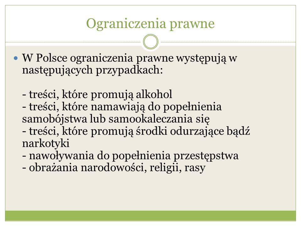 Ograniczenia prawne W Polsce ograniczenia prawne występują w następujących przypadkach: - treści, które promują alkohol - treści, które namawiają do popełnienia samobójstwa lub samookaleczania się - treści, które promują środki odurzające bądź narkotyki - nawoływania do popełnienia przestępstwa - obrażania narodowości, religii, rasy