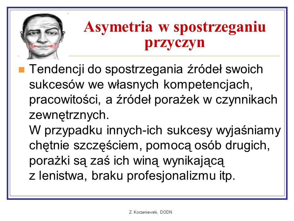 Z. Korzeniewski, DODN Asymetria w spostrzeganiu przyczyn Tendencji do spostrzegania źródeł swoich sukcesów we własnych kompetencjach, pracowitości, a