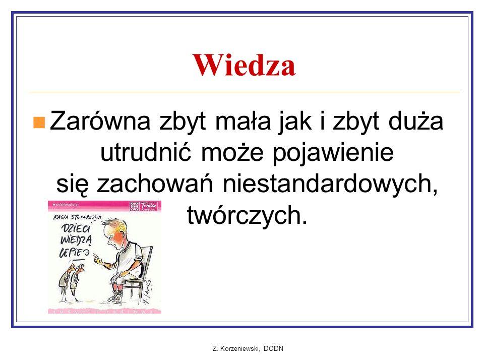Z. Korzeniewski, DODN Wiedza Zarówna zbyt mała jak i zbyt duża utrudnić może pojawienie się zachowań niestandardowych, twórczych.