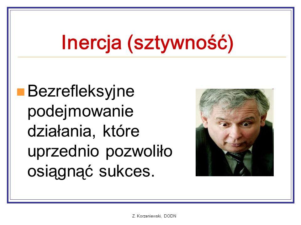 Z. Korzeniewski, DODN Inercja (sztywność) Bezrefleksyjne podejmowanie działania, które uprzednio pozwoliło osiągnąć sukces.