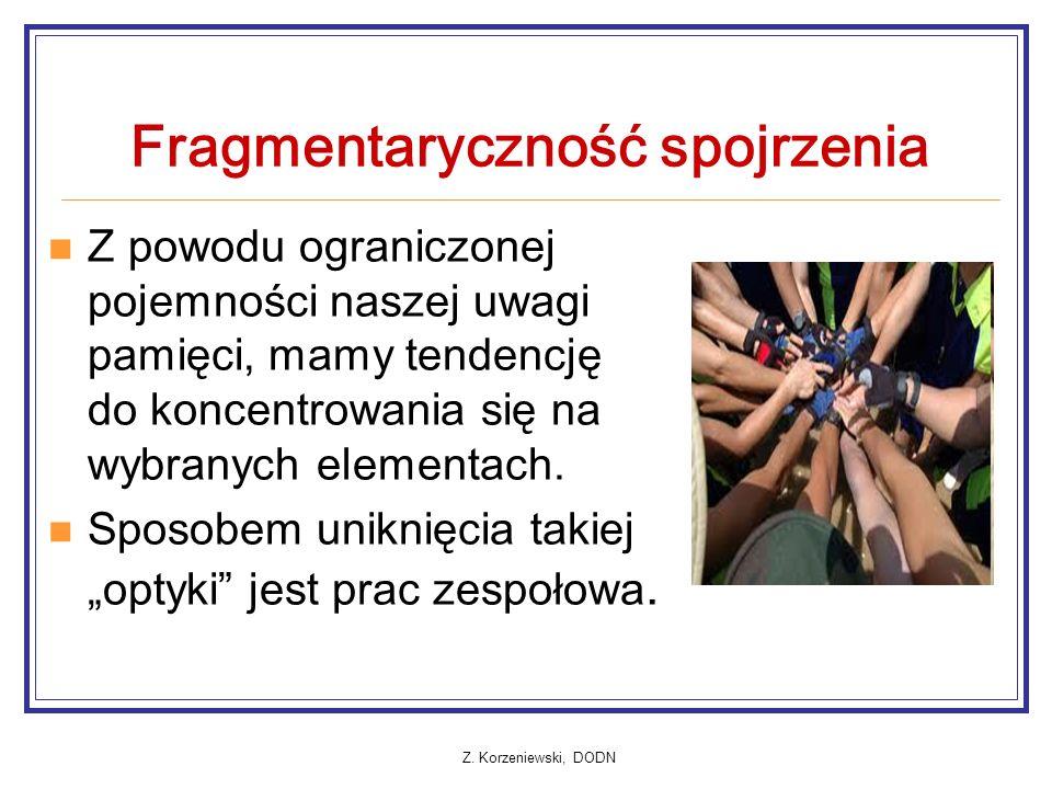 Z. Korzeniewski, DODN Fragmentaryczność spojrzenia Z powodu ograniczonej pojemności naszej uwagi pamięci, mamy tendencję do koncentrowania się na wybr