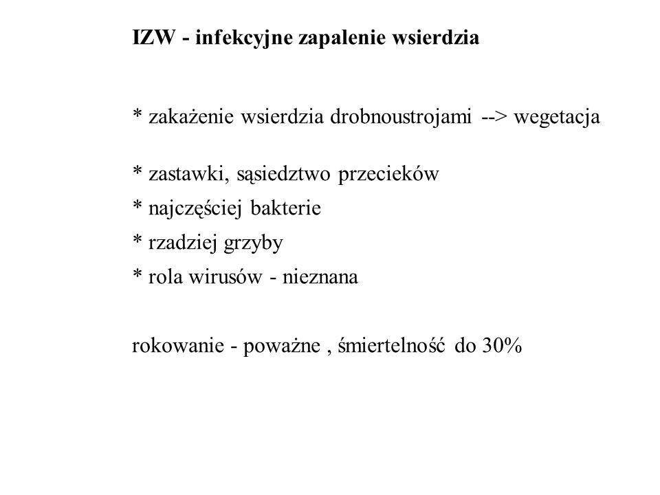IZW - infekcyjne zapalenie wsierdzia * zakażenie wsierdzia drobnoustrojami --> wegetacja * zastawki, sąsiedztwo przecieków * najczęściej bakterie * rzadziej grzyby * rola wirusów - nieznana rokowanie - poważne, śmiertelność do 30%