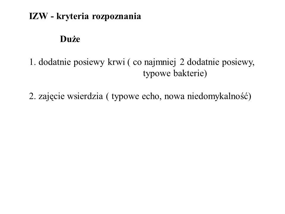IZW - kryteria rozpoznania Duże 1. dodatnie posiewy krwi ( co najmniej 2 dodatnie posiewy, typowe bakterie) 2. zajęcie wsierdzia ( typowe echo, nowa n