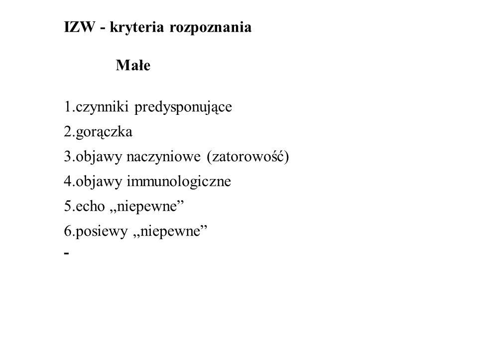 """IZW - kryteria rozpoznania Małe 1.czynniki predysponujące 2.gorączka 3.objawy naczyniowe (zatorowość) 4.objawy immunologiczne 5.echo """"niepewne 6.posiewy """"niepewne -"""