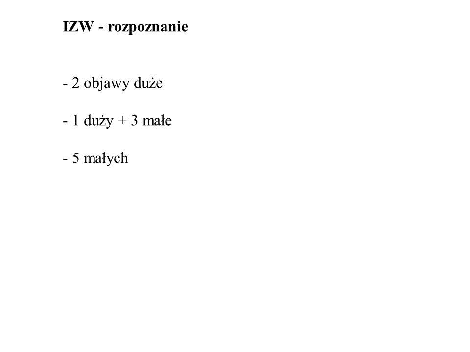 IZW - rozpoznanie - 2 objawy duże - 1 duży + 3 małe - 5 małych