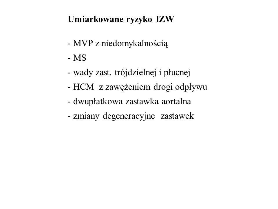 Umiarkowane ryzyko IZW - MVP z niedomykalnością - MS - wady zast. trójdzielnej i płucnej - HCM z zawężeniem drogi odpływu - dwupłatkowa zastawka aorta