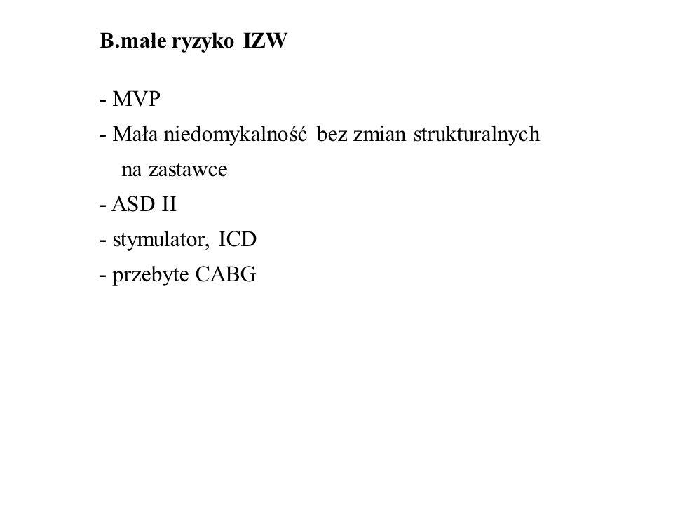 B.małe ryzyko IZW - MVP - Mała niedomykalność bez zmian strukturalnych na zastawce - ASD II - stymulator, ICD - przebyte CABG