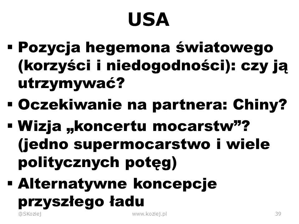 USA  Pozycja hegemona światowego (korzyści i niedogodności): czy ją utrzymywać.