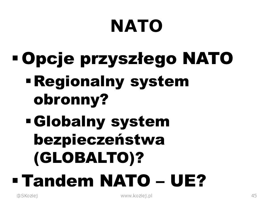 NATO  Opcje przyszłego NATO  Regionalny system obronny.