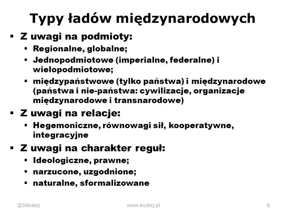 """Ład wiedeński @SKoziejwww.koziej.pl17  Wielobiegunowy  Państwa jako podmioty, mocarstwa jako główne podmioty  Ustalają """"reguły gry Koncert mocarstw"""