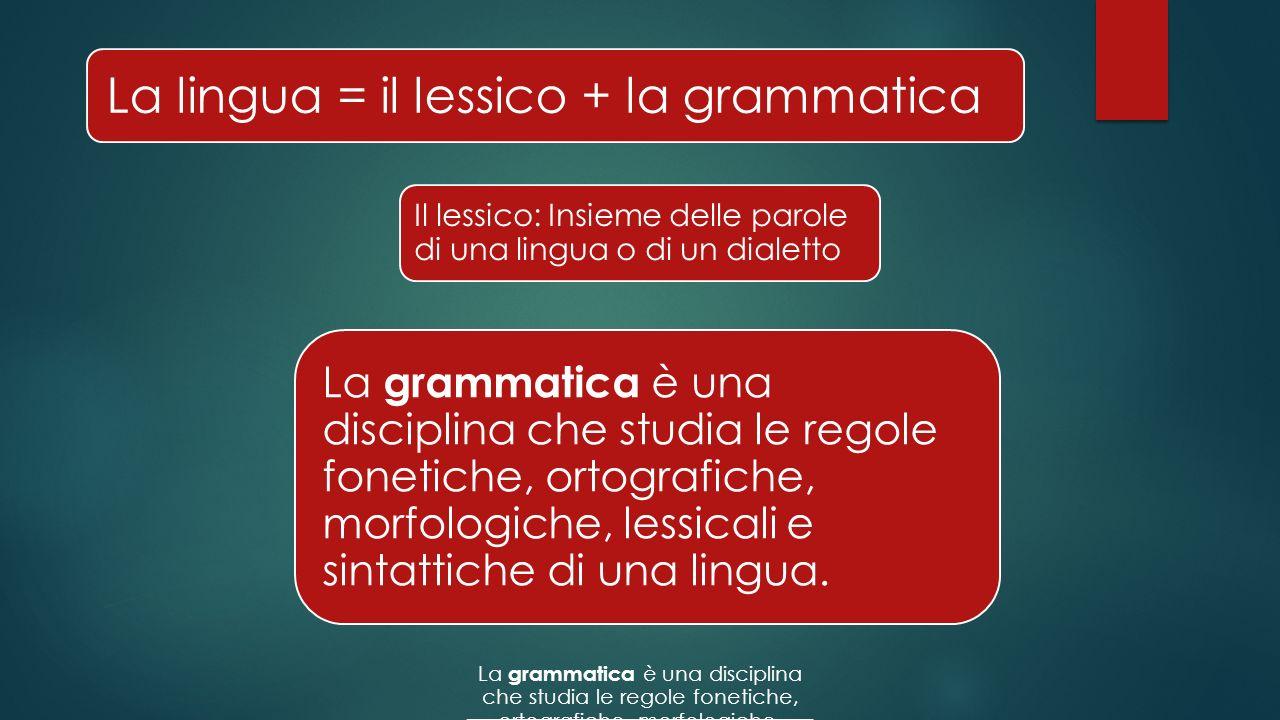 La lingua = il lessico + la grammatica Il lessico: Insieme delle parole di una lingua o di un dialetto La grammatica è una disciplina che studia le regole fonetiche, ortografiche, morfologiche, lessicali e sintattiche di una lingua.