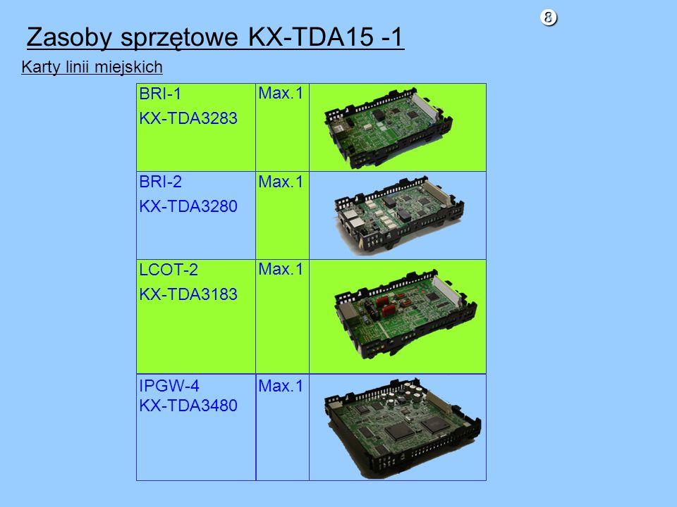 Zasoby sprzętowe KX-TDA15 -1 Karty linii miejskich IPGW-4 KX-TDA3480 BRI-2 KX-TDA3280 BRI-1 KX-TDA3283 LCOT-2 KX-TDA3183 Max.1