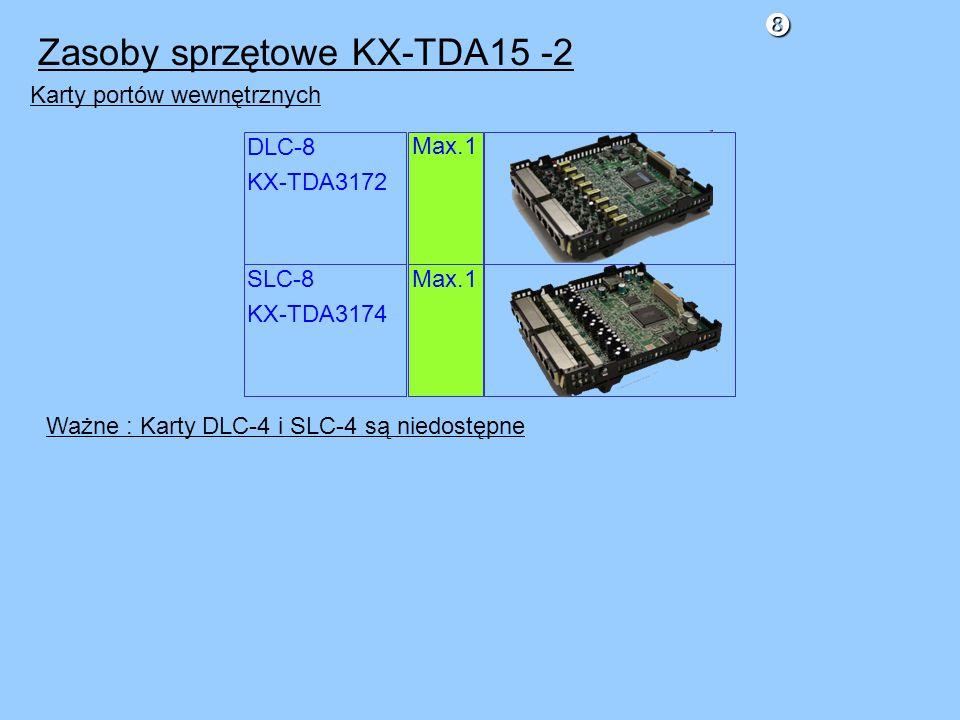 Karty portów wewnętrznych Ważne : Karty DLC-4 i SLC-4 są niedostępne DLC-8 KX-TDA3172 SLC-8 KX-TDA3174 Max.1 Zasoby sprzętowe KX-TDA15 -2