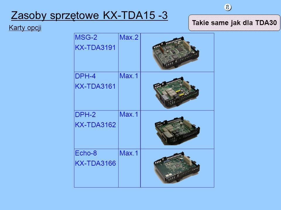 Max.1 Max.2 Max.1 Karty opcji DPH-4 KX-TDA3161 MSG-2 KX-TDA3191 Echo-8 KX-TDA3166 DPH-2 KX-TDA3162 Zasoby sprzętowe KX-TDA15 -3 Takie same jak dla TDA30