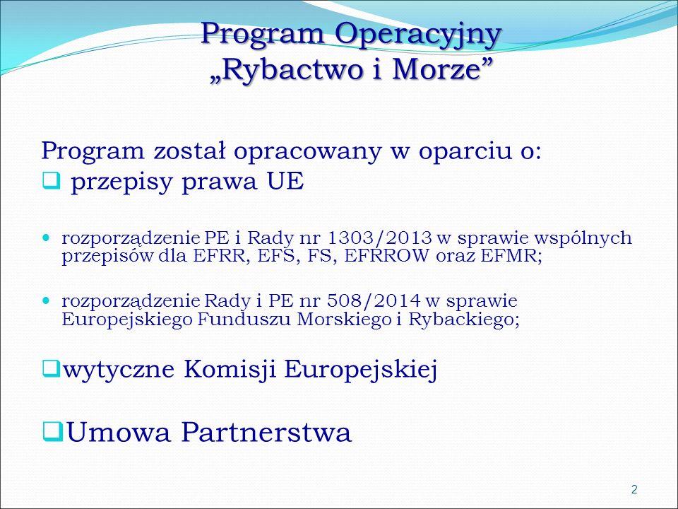"""Program Operacyjny """"Rybactwo i Morze Program został opracowany w oparciu o:  przepisy prawa UE rozporządzenie PE i Rady nr 1303/2013 w sprawie wspólnych przepisów dla EFRR, EFS, FS, EFRROW oraz EFMR; rozporządzenie Rady i PE nr 508/2014 w sprawie Europejskiego Funduszu Morskiego i Rybackiego;  wytyczne Komisji Europejskiej  Umowa Partnerstwa 2"""