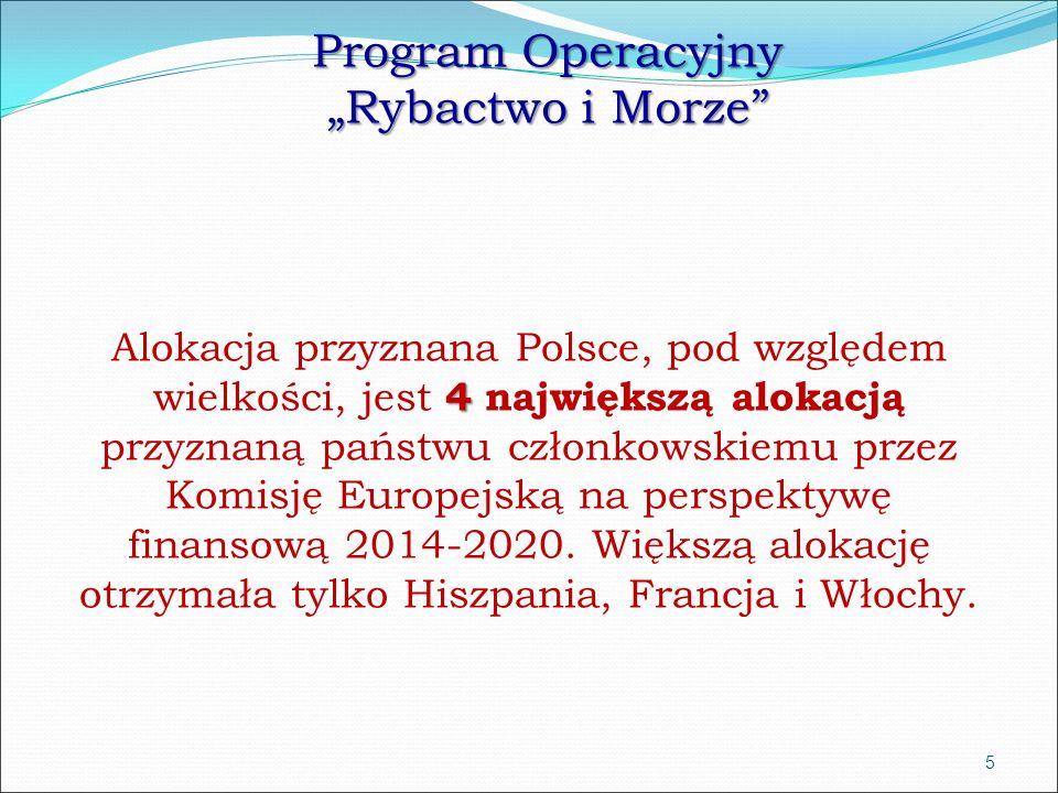 """Program Operacyjny """"Rybactwo i Morze wkład unijny 531 219 456 euro wkład krajowy ok."""