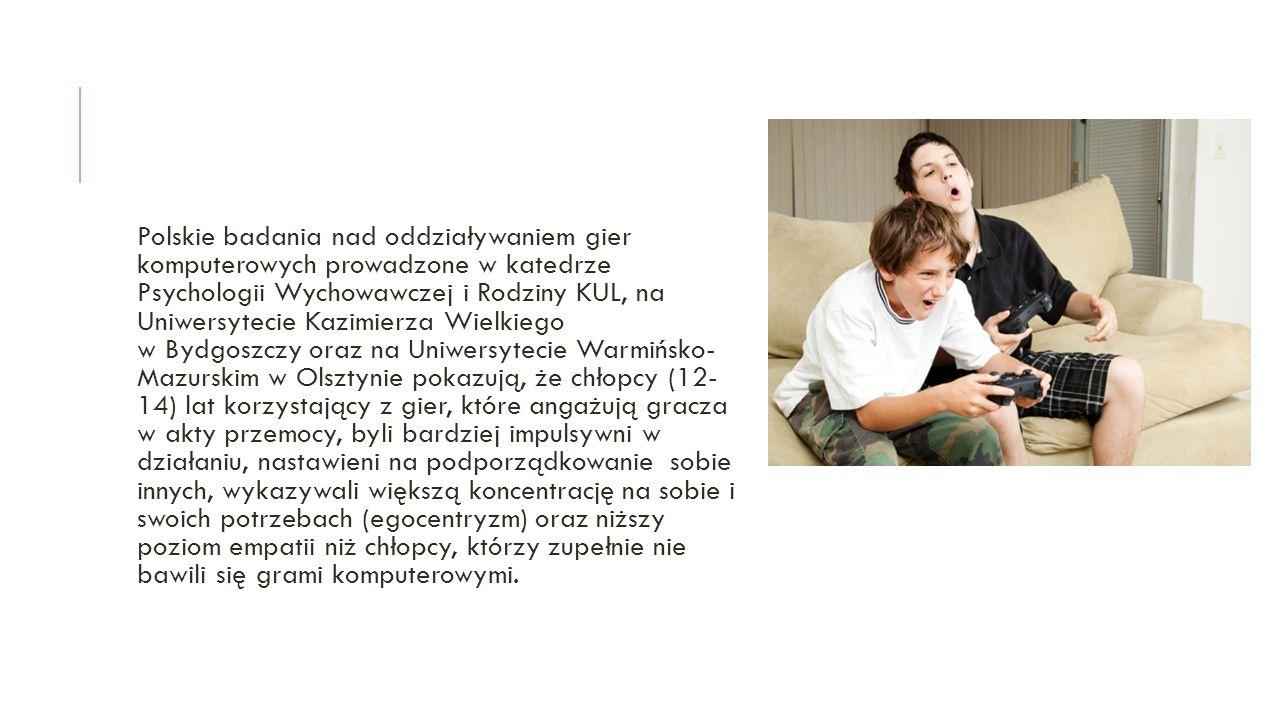 Polskie badania nad oddziaływaniem gier komputerowych prowadzone w katedrze Psychologii Wychowawczej i Rodziny KUL, na Uniwersytecie Kazimierza Wielki