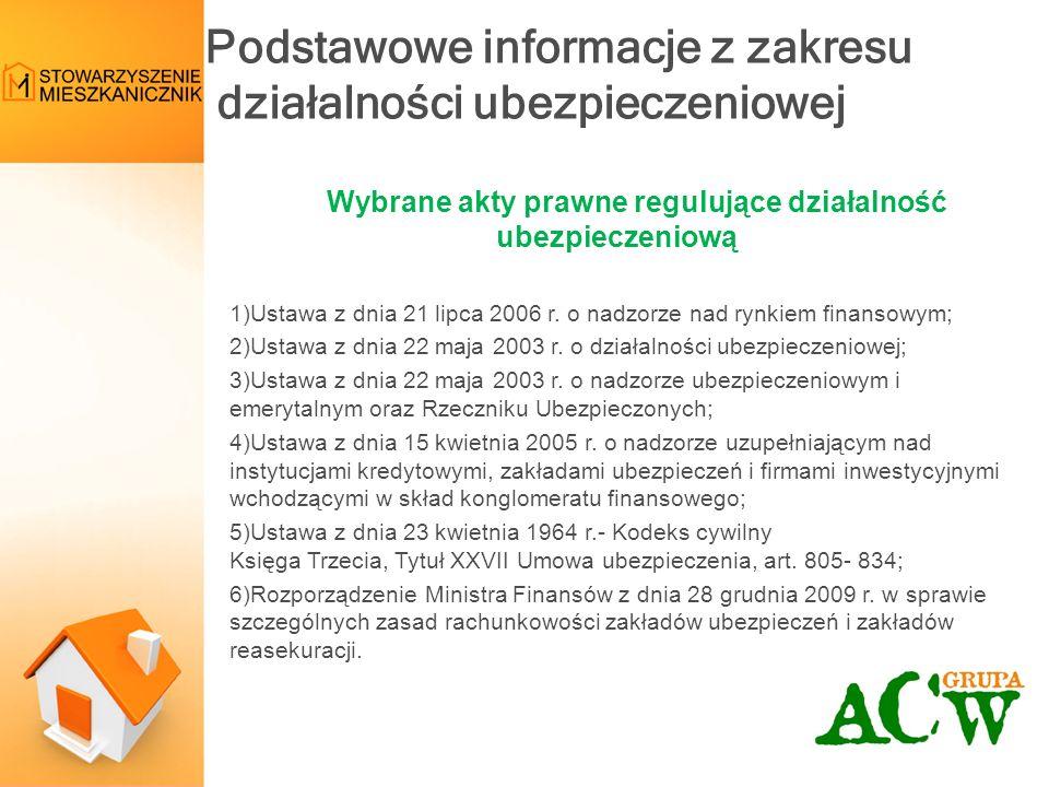 Wybrane akty prawne regulujące działalność ubezpieczeniową 1)Ustawa z dnia 21 lipca 2006 r.