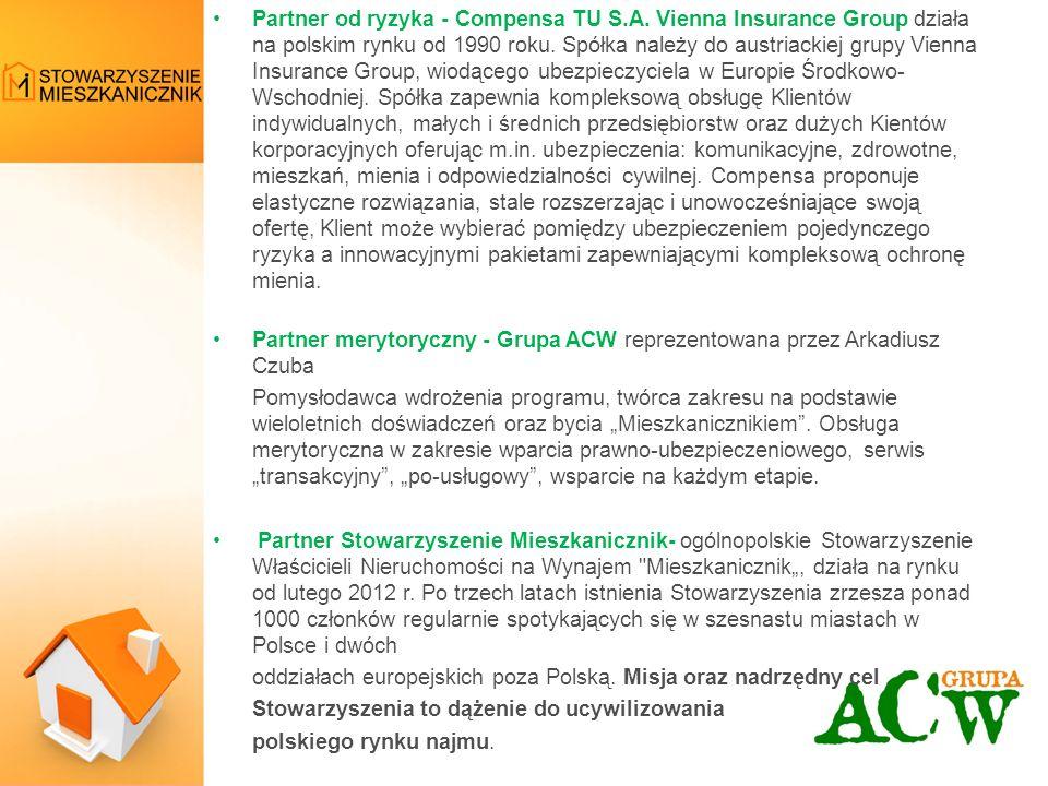 Partner od ryzyka - Compensa TU S.A. Vienna Insurance Group działa na polskim rynku od 1990 roku.