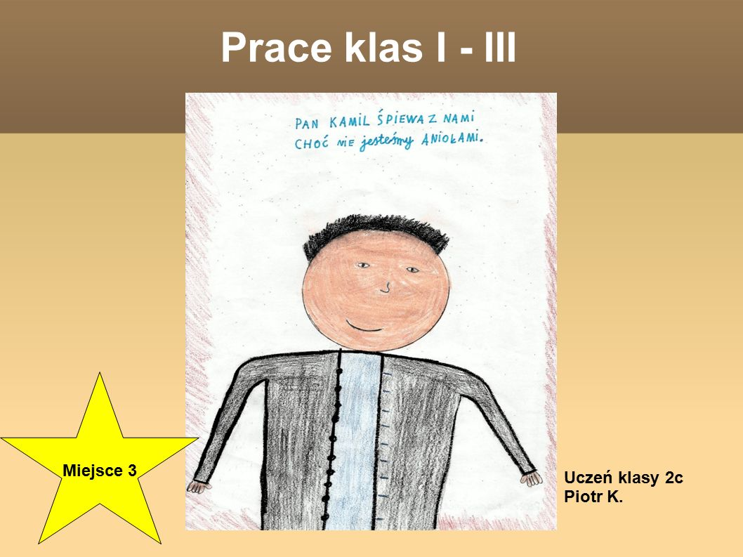 Prace klas I - III Miejsce 3 Uczeń klasy 2c Piotr K.
