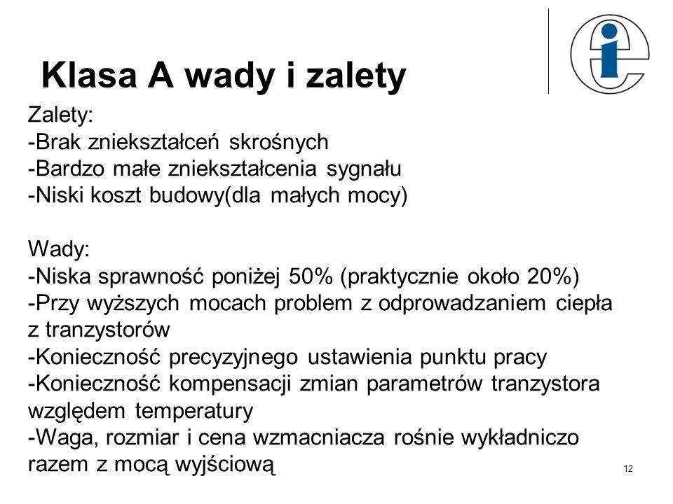 Klasa A wady i zalety Zalety: -Brak zniekształceń skrośnych -Bardzo małe zniekształcenia sygnału -Niski koszt budowy(dla małych mocy) Wady: -Niska spr