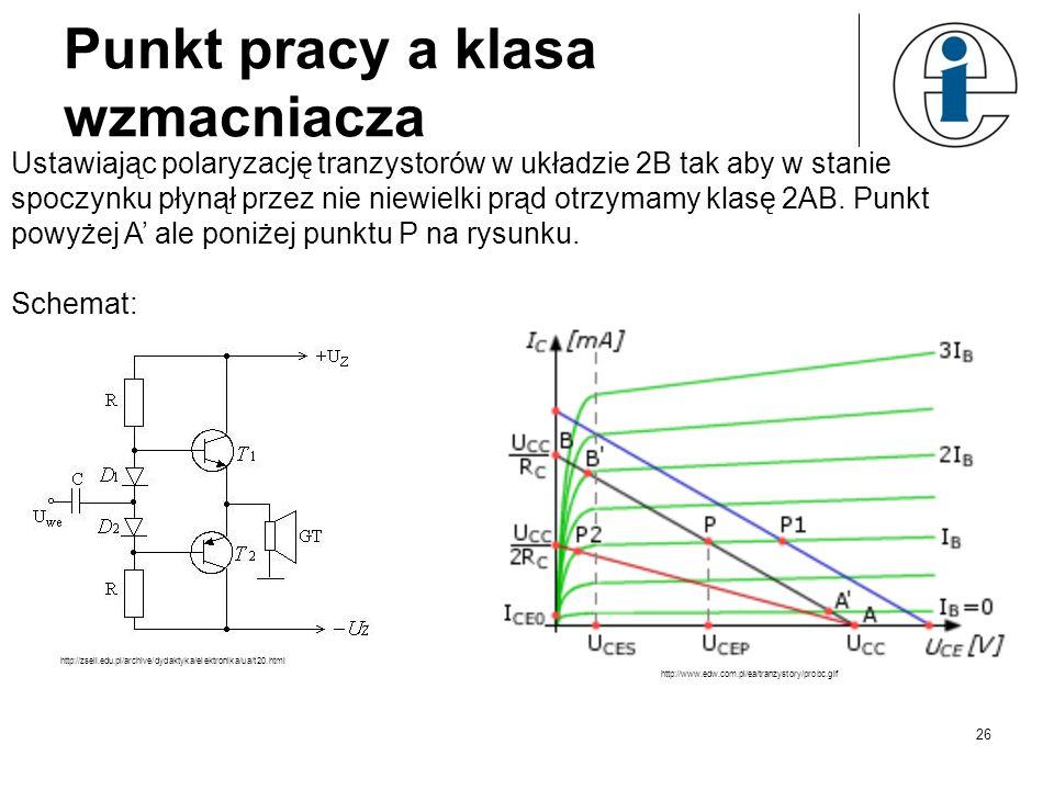 Punkt pracy a klasa wzmacniacza Ustawiając polaryzację tranzystorów w układzie 2B tak aby w stanie spoczynku płynął przez nie niewielki prąd otrzymamy