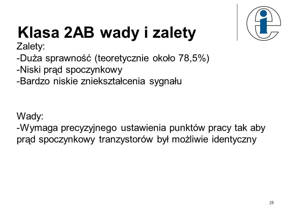 Klasa 2AB wady i zalety Zalety: -Duża sprawność (teoretycznie około 78,5%) -Niski prąd spoczynkowy -Bardzo niskie zniekształcenia sygnału Wady: -Wymag