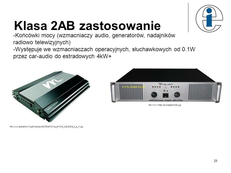Klasa 2AB zastosowanie -Końcówki mocy (wzmacniaczy audio, generatorów, nadajników radiowo telewizyjnych) -Występuje we wzmacniaczach operacyjnych, słu