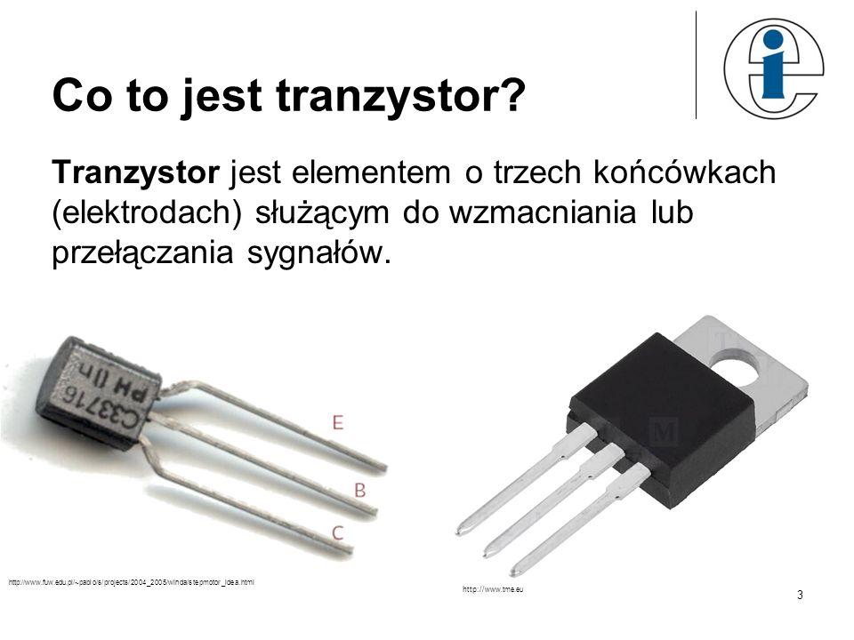 Co to jest tranzystor? Tranzystor jest elementem o trzech końcówkach (elektrodach) służącym do wzmacniania lub przełączania sygnałów. http://www.fuw.e