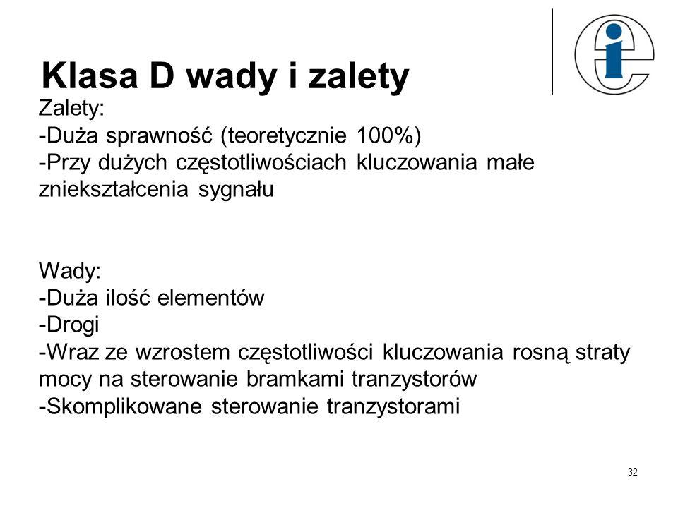 Klasa D wady i zalety Zalety: -Duża sprawność (teoretycznie 100%) -Przy dużych częstotliwościach kluczowania małe zniekształcenia sygnału Wady: -Duża