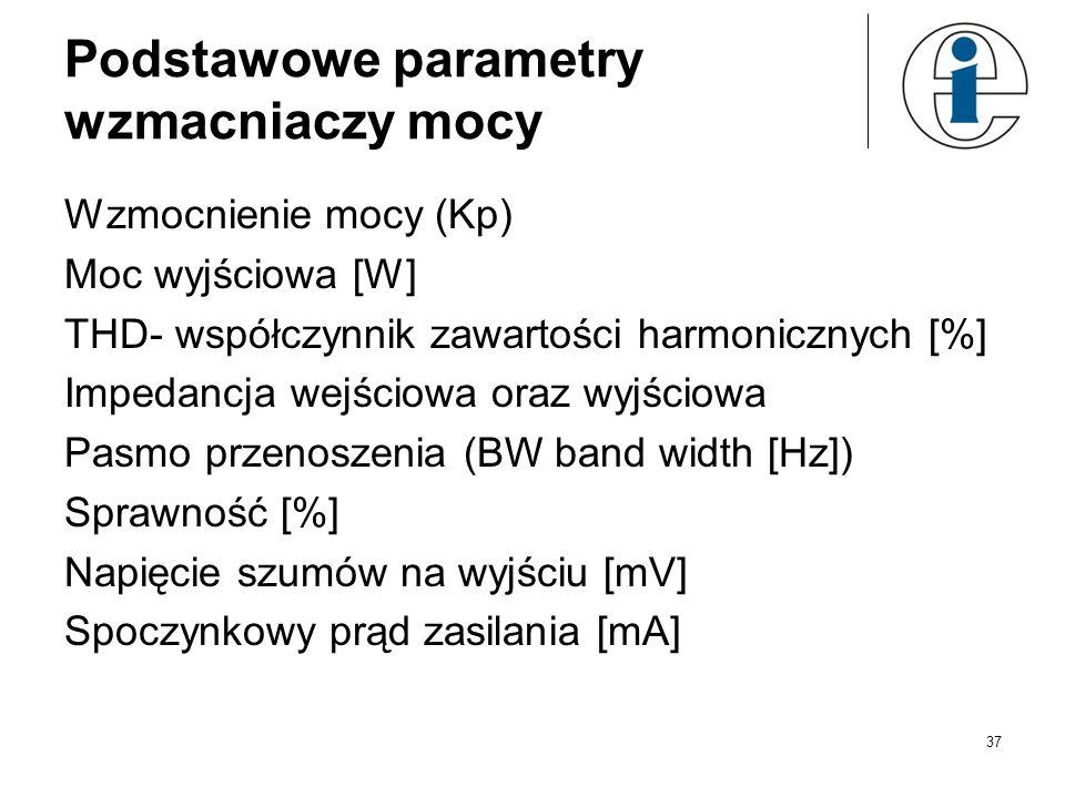 Podstawowe parametry wzmacniaczy mocy Wzmocnienie mocy (Kp) Moc wyjściowa [W] THD- współczynnik zawartości harmonicznych [%] Impedancja wejściowa oraz