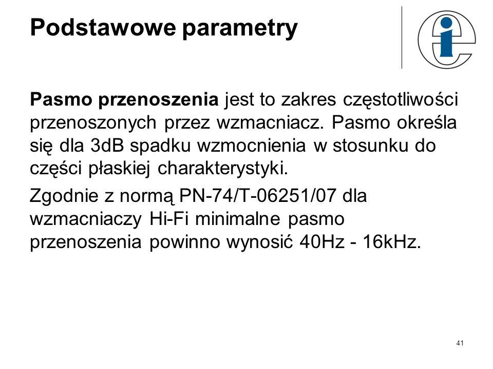 Podstawowe parametry Pasmo przenoszenia jest to zakres częstotliwości przenoszonych przez wzmacniacz. Pasmo określa się dla 3dB spadku wzmocnienia w s