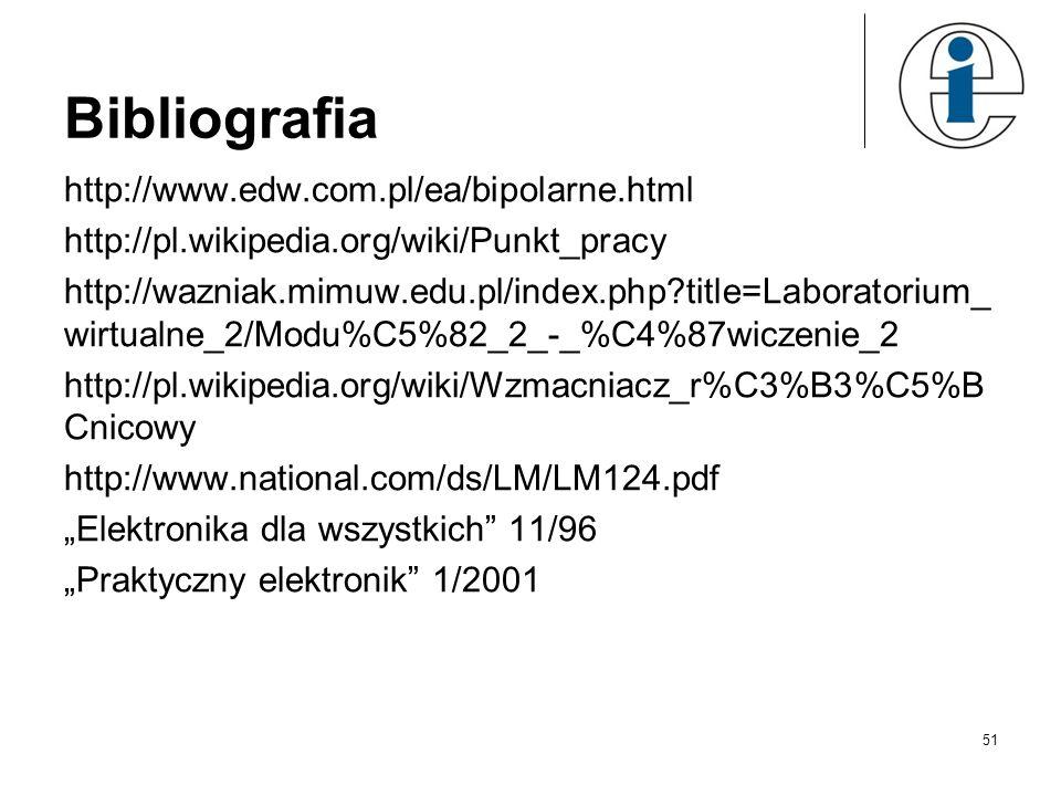 Bibliografia http://www.edw.com.pl/ea/bipolarne.html http://pl.wikipedia.org/wiki/Punkt_pracy http://wazniak.mimuw.edu.pl/index.php?title=Laboratorium