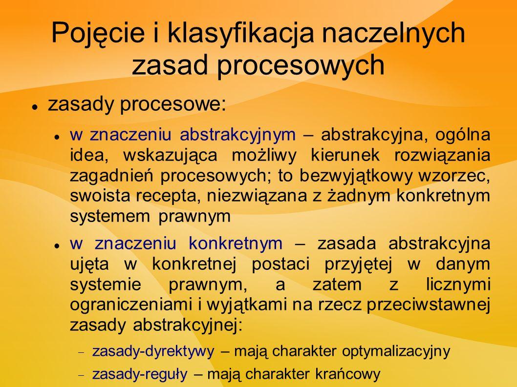 Pojęcie i klasyfikacja naczelnych zasad procesowych zasady procesowe: w znaczeniu abstrakcyjnym – abstrakcyjna, ogólna idea, wskazująca możliwy kierunek rozwiązania zagadnień procesowych; to bezwyjątkowy wzorzec, swoista recepta, niezwiązana z żadnym konkretnym systemem prawnym w znaczeniu konkretnym – zasada abstrakcyjna ujęta w konkretnej postaci przyjętej w danym systemie prawnym, a zatem z licznymi ograniczeniami i wyjątkami na rzecz przeciwstawnej zasady abstrakcyjnej:  zasady-dyrektywy – mają charakter optymalizacyjny  zasady-reguły – mają charakter krańcowy