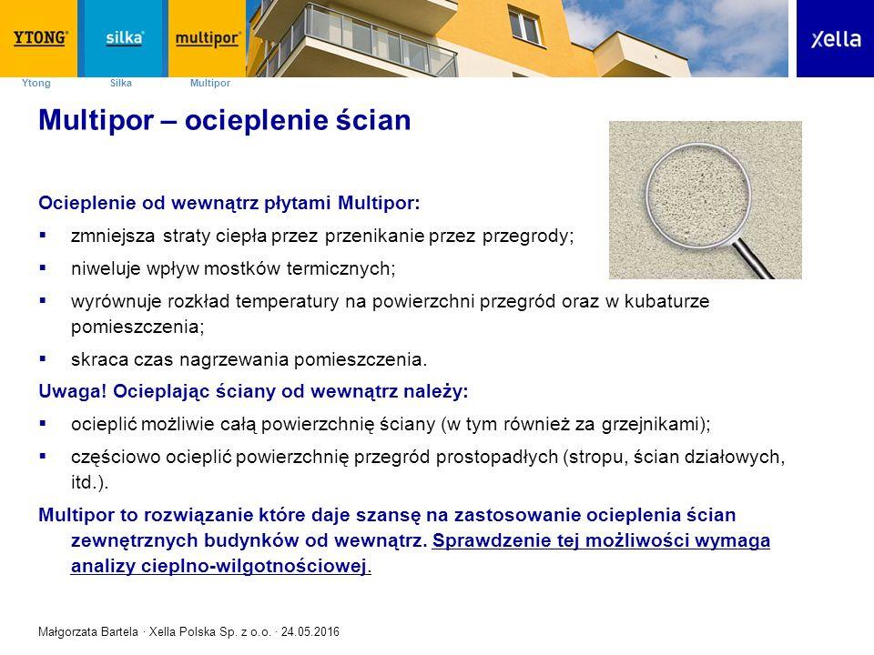 SilkaYtong Multipor Multipor – ocieplenie ścian Ocieplenie od wewnątrz płytami Multipor:  zmniejsza straty ciepła przez przenikanie przez przegrody;