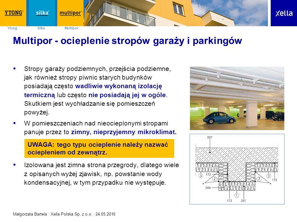 SilkaYtong Multipor Multipor - ocieplenie stropów garaży i parkingów  Stropy garaży podziemnych, przejścia podziemne, jak również stropy piwnic starych budynków posiadają często wadliwie wykonaną izolację termiczną lub często nie posiadają jej w ogóle.