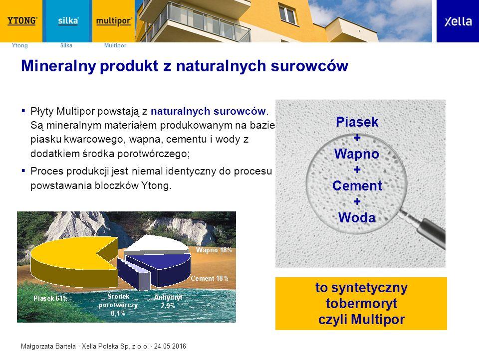 SilkaYtong Multipor Mineralny produkt z naturalnych surowców  Płyty Multipor powstają z naturalnych surowców. Są mineralnym materiałem produkowanym n