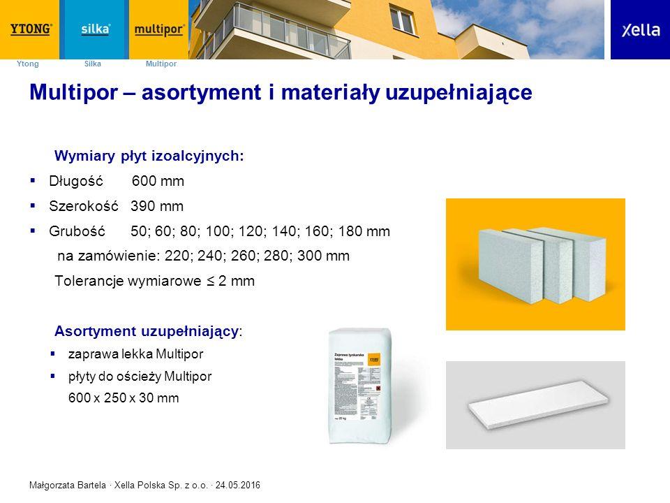 SilkaYtong Multipor Multipor – asortyment i materiały uzupełniające Wymiary płyt izoalcyjnych:  Długość 600 mm  Szerokość 390 mm  Grubość 50; 60; 8