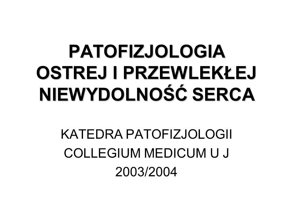 PATOFIZJOLOGIA OSTREJ I PRZEWLEKŁEJ NIEWYDOLNOŚĆ SERCA KATEDRA PATOFIZJOLOGII COLLEGIUM MEDICUM U J 2003/2004