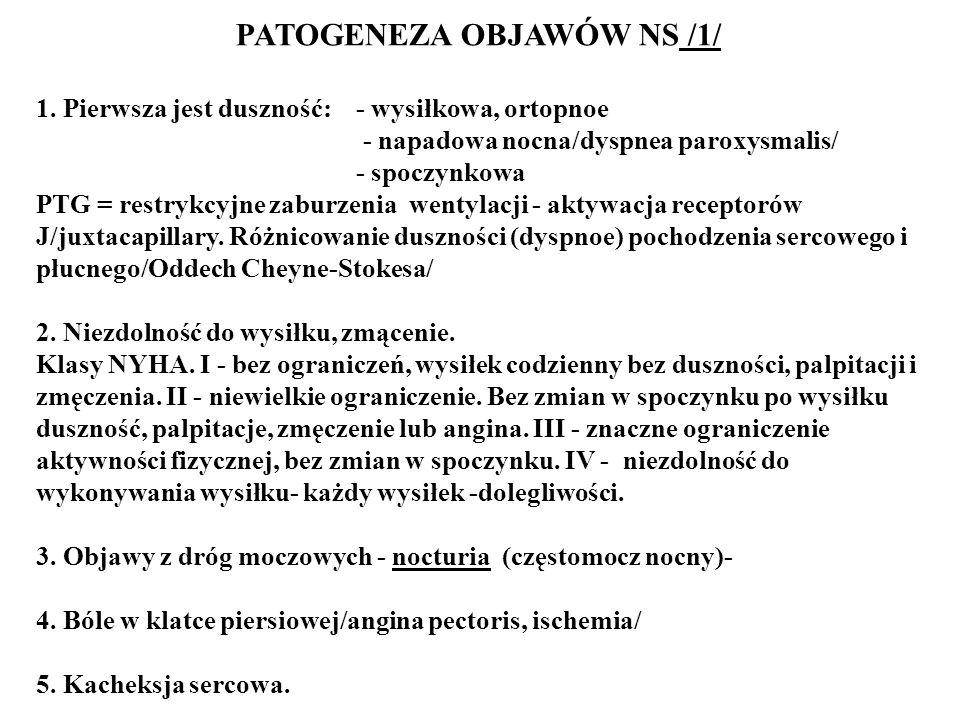PATOGENEZA OBJAWÓW NS /1/ 1. Pierwsza jest duszność: - wysiłkowa, ortopnoe - napadowa nocna/dyspnea paroxysmalis/ - spoczynkowa PTG = restrykcyjne zab