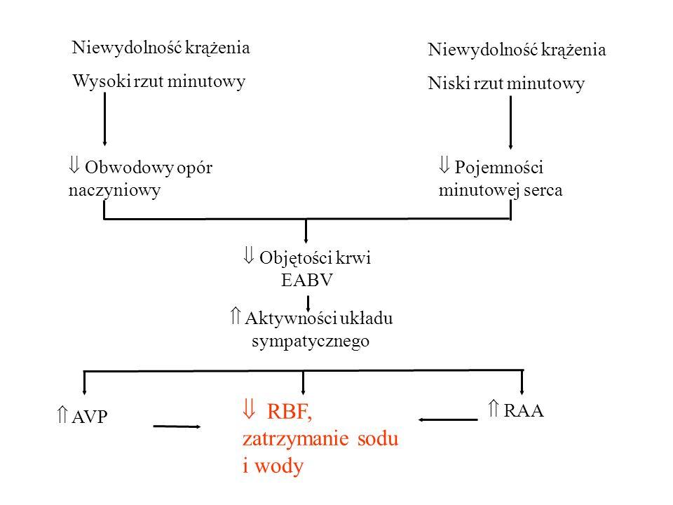 Niewydolność krążenia Wysoki rzut minutowy Niewydolność krążenia Niski rzut minutowy  Obwodowy opór naczyniowy  Pojemności minutowej serca  Objętości krwi EABV  Aktywności układu sympatycznego  AVP  RBF, zatrzymanie sodu i wody  RAA