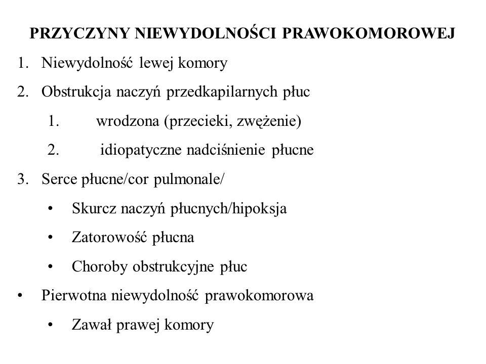 PRZYCZYNY NIEWYDOLNOŚCI PRAWOKOMOROWEJ 1.Niewydolność lewej komory 2.Obstrukcja naczyń przedkapilarnych płuc 1. wrodzona (przecieki, zwężenie) 2. idio