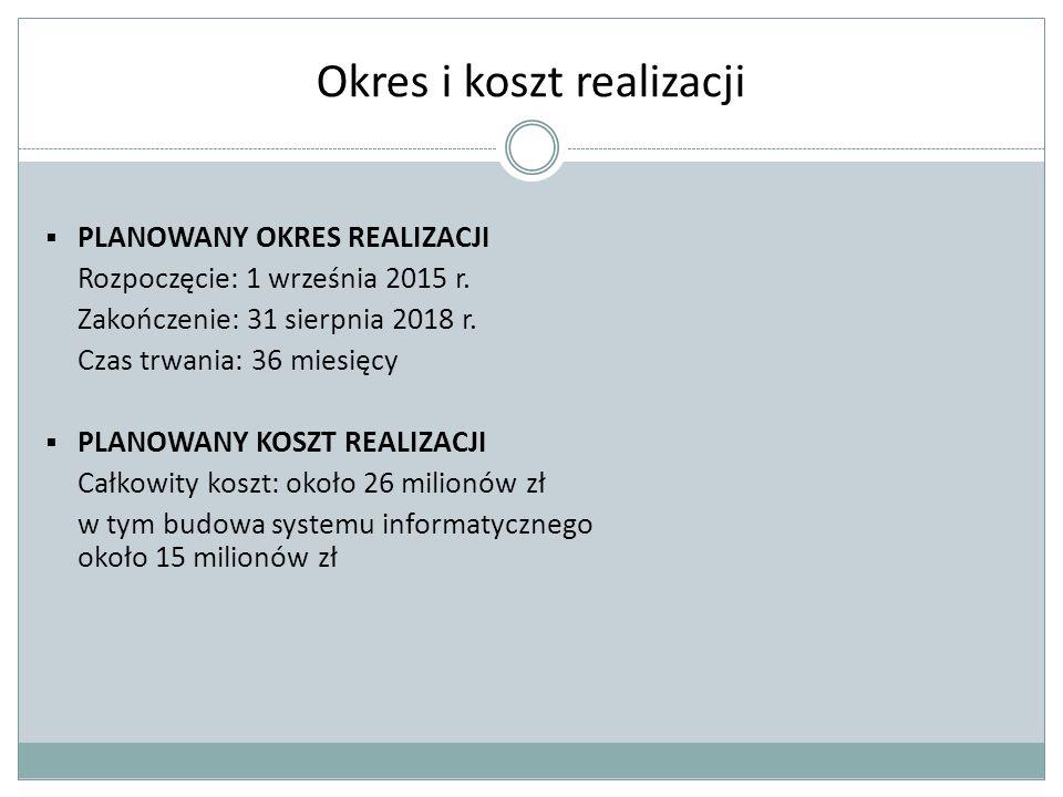 Okres i koszt realizacji  PLANOWANY OKRES REALIZACJI Rozpoczęcie: 1 września 2015 r.