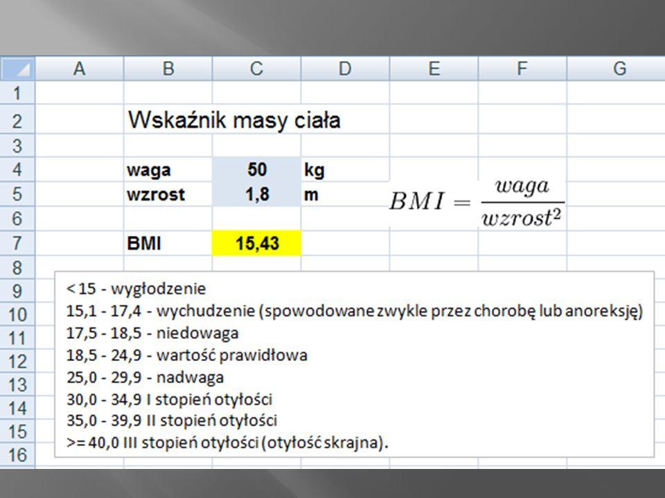Powszechnie znana metoda identyfikacji właściwej masy ciała polega na indeksu masy ciała BMI.