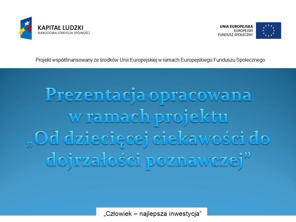 """Projekt współfinansowany ze środków Unii Europejskiej w ramach Europejskiego Funduszu Społecznego """"Człowiek – najlepsza inwestycja"""